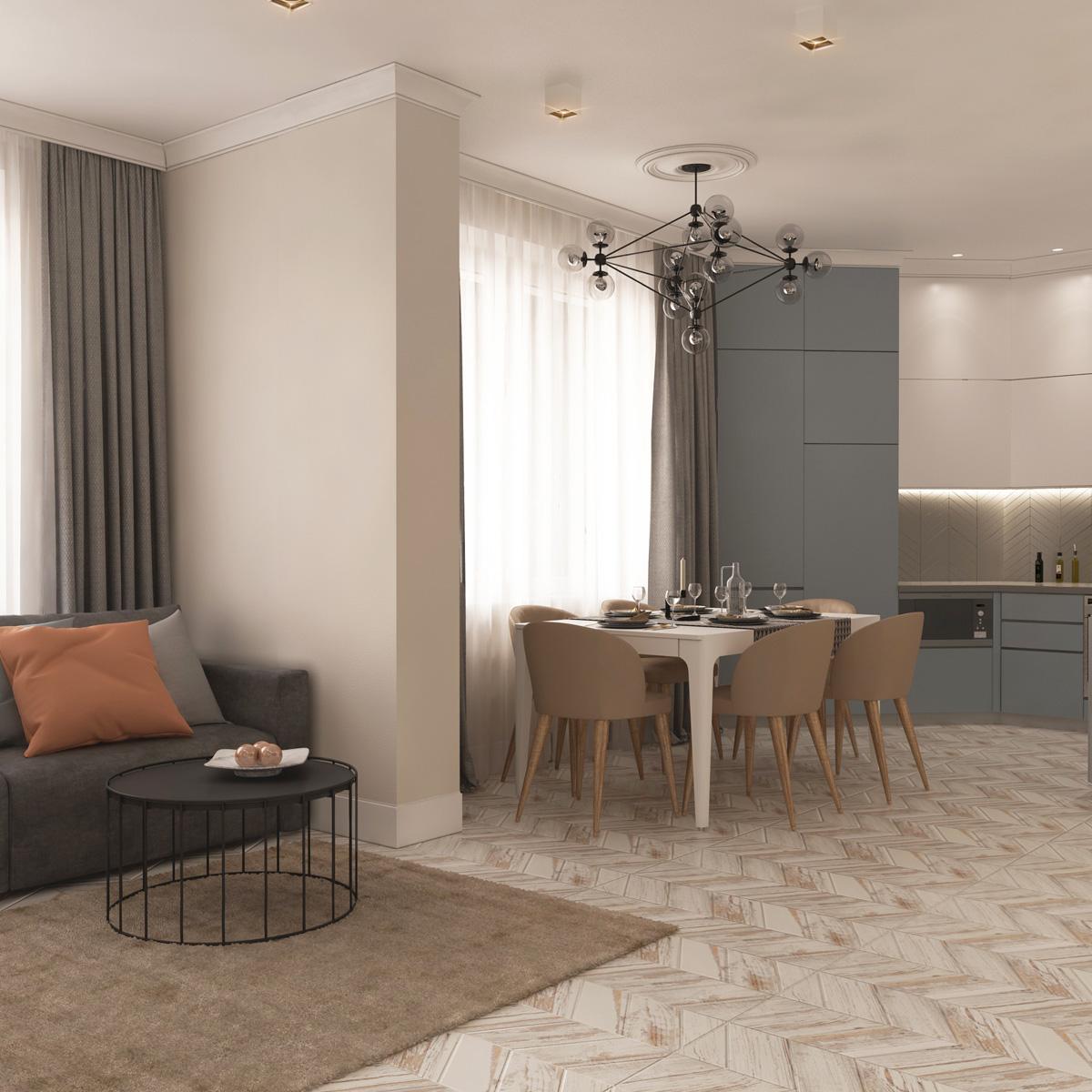 Вид вітальні | дизайн-проект Оболонський проспект