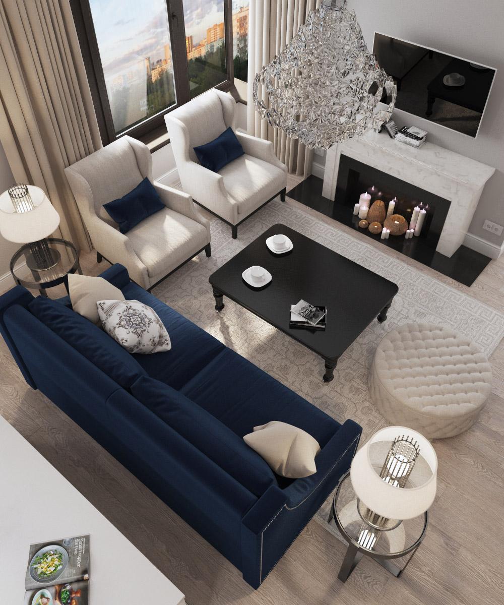 Дизайн вітальні | проект ЖК «Зарічний»