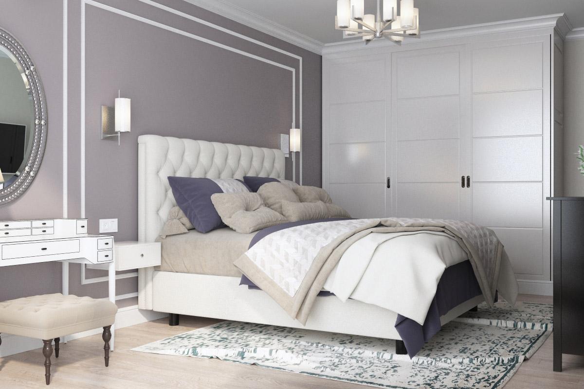 Дизайн спальні у стилі сучасна класика | проект ЖК «Зарічний»